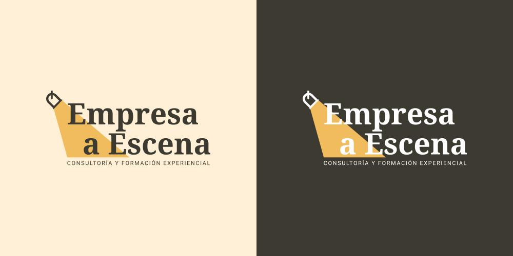 Imagen que muestra dos versiones de color (positivo y negativo) del logotipo de Empresa a Escena.