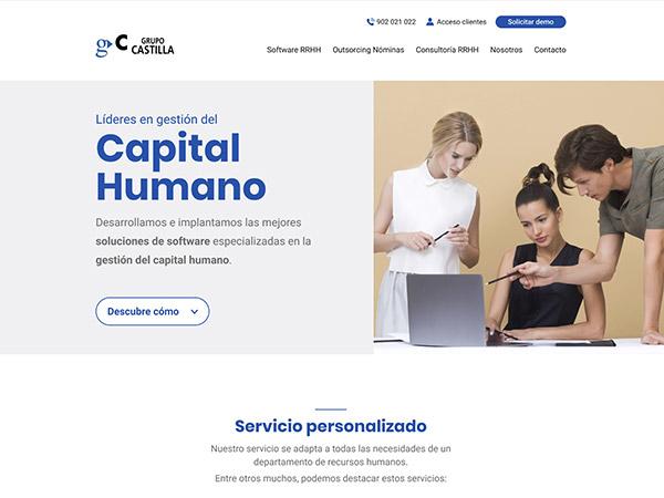 Detalle del diseño de la página de inicio diseñada para Grupo Castilla.