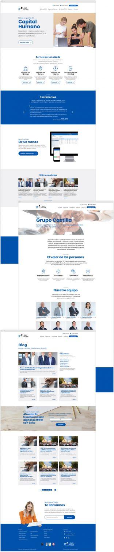 Diseño de tres páginas de las diseñadas para el nuevo sitio web de Grupo Castilla. Concretamente: la página de inicio, la página de Quiénes somos y la página de blog.