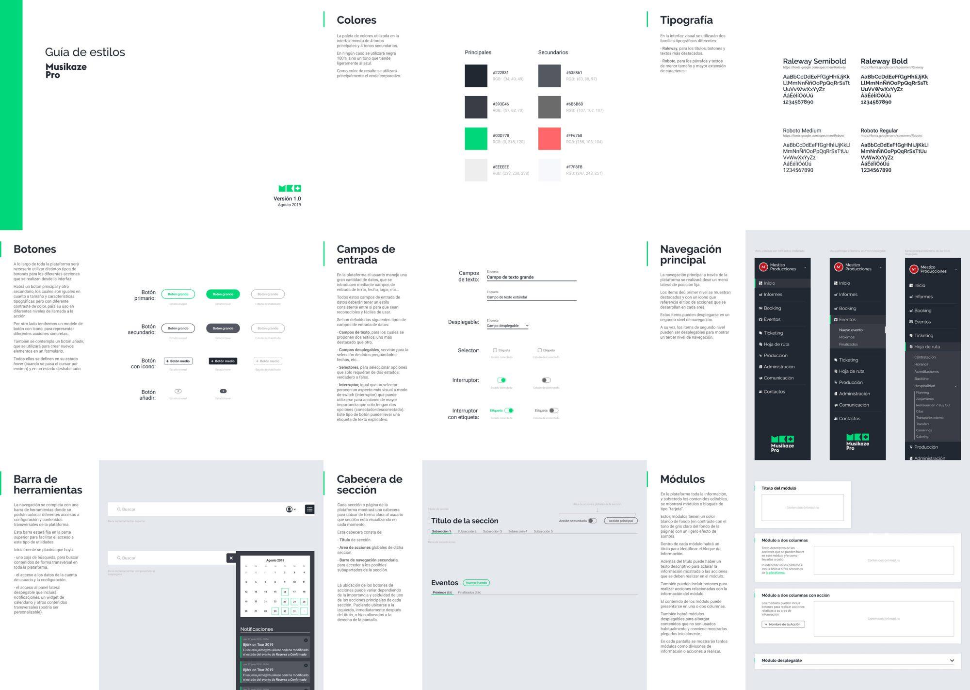 Algunas páginas de la guía de estilos que describe los componentes del diseño de interfaz de la aplicación Musikaze Pro.