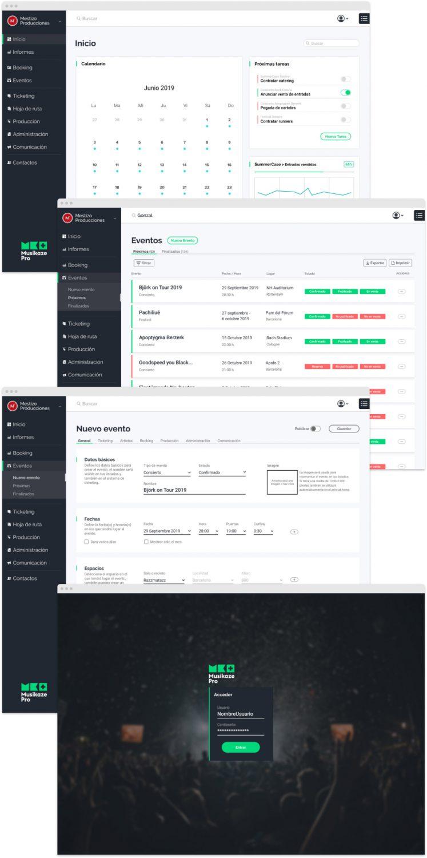 Varias pantallas diseñadas para la aplicación Musikaze Pro. En orden descendente:¡ pantalla de inicio (dashboard), listado de eventos, nuevo evento y login.