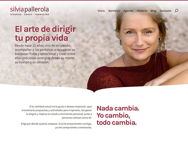 Detalle del diseño de la página de inicio del nuevo sitio web de Silvia Pallerola.