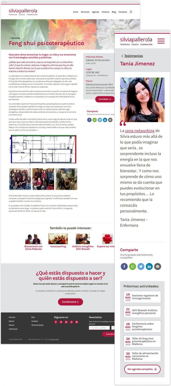 Captura de una página de servicio del nuevo sitio web de Silvia Pallerola en resolución de escritorio junto a una ficha de testimonio en resolución móvil.