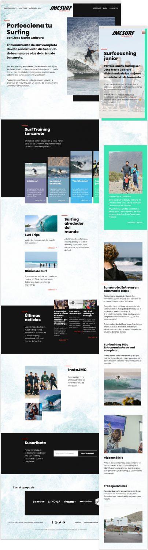 Imagen completa del diseño de la página de inicio (home) en resolución de escritorio junto al diseño de una página de las páginas de los cursos, en resolución para pantallas pequeñas verticales (normalmente teléfonos móviles).