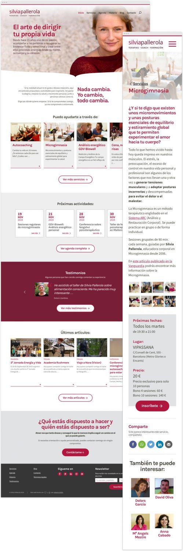 Captura de la página de inicio del nuevo sitio web de Silvia Pallerola en resolución de escritorio junto a una página de servicio en resolución móvil.