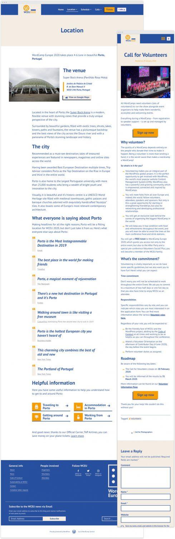 Captura de la página de inicio del sitio web de WordCamp 2020 en resolución de escritorio junto a captura de un artículo del blog en resolución móvil.
